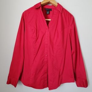 Lane Bryant red V-neck button down shirt sz 18